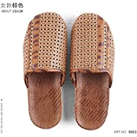 fankou During The Spring and Autumn Men's Linen Slippers Summer Female Cane Straw Home Floor Indoor Stay Anti-Slip, Older Persons,39-40, Brown