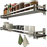 Besteckkasten Küchenregal Wand Gewürz Gewürzregal 304 Edelstahl Anhänger Lagerregal (größe : 90cm)