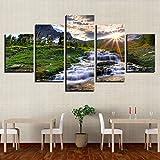 DOORWD Wandbilder Home Dekorativ Modern 5-teilig Großplakat Leinwanddruck Sunrise Wasserfalllandschaft 30x40cmx2 30x60cmx2 30x80cmx1 Kein Rahmen
