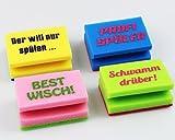 Kamaca 4 er Set (= 4 Stück) Witziger Küchenschwamm Topfschwamm Schwamm - bunt mit lustigen und originellen Slogans, denn damit Macht Das Spülen Wieder mehr Spass Shop