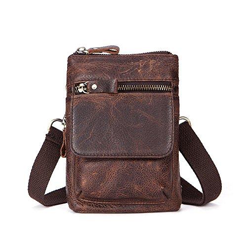 8d859ebcd7 Gendi Practical Mens Leather Mini Cross Body Bag Small Mobile Phone Belt  Pouch Holster Case for