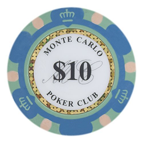 Brybelly Monte Carlo Premium Poker Chip Heavyweight 14 Ton, bestehend aus 50 Stück, Jugendliche Damen Unisex-Erwachsene Herren, CPMC-$10 * 50, 10 Blau, 3.5