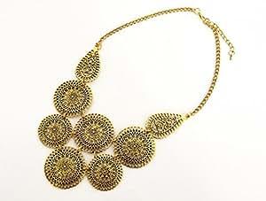 CC405 - Collier Plastron Cercles Style Oriental Métal Vieilli Doré - Mode Fantaisie