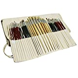 Feelily Paint Brushes 36 Pcs Art Professional Paintbrush Set for Acrylics Oil Watercolor Gouache Sliver Painting-3 Hairs Assorted Head Shapes Wooden Handled