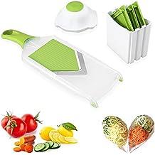 Gemüsehobel Küchenhobel Rostfreiem Stahl Mandoline Gemüseschneider, 4 in 1 Uten Profi Gemüsereibe Abnehmbar Kartoffelschneider für Gemüse und Obst - Pflanzliche Slicer, Siche Schnell und gleichmäßig