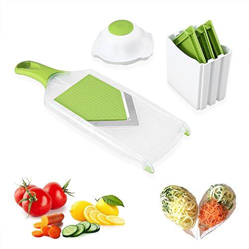 Gemüsehobel Küchenhobel, Uten Mandoline V-Hobel,Reibe für Gurken, Karotten, Kartoffeln mit 4 V-Blade Klingen