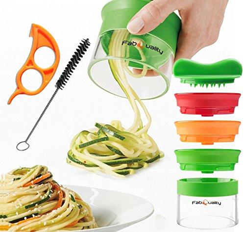 Premium 3 Klingen Spiralschneider Hand für Gemüsespaghetti kartoffel - mit BÜNDEL Kochbuch und enthält die Bürste für die Reinigung FabQuality Zucchini Spargelschäler, Gurkenschneider, Gurkenschäler
