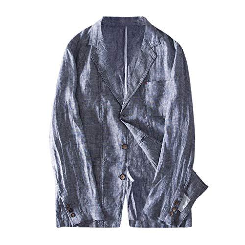 Coconute einfarbiger Herren-Baumwollblazer Leinenmischung Taschenstreifen Langarm Anzüge Blazer Jacke Outwear Herrenhemd mit Langen Ärmeln Lose Freizeit Knopf Mantel Weiche Jacke(Army Green,L)