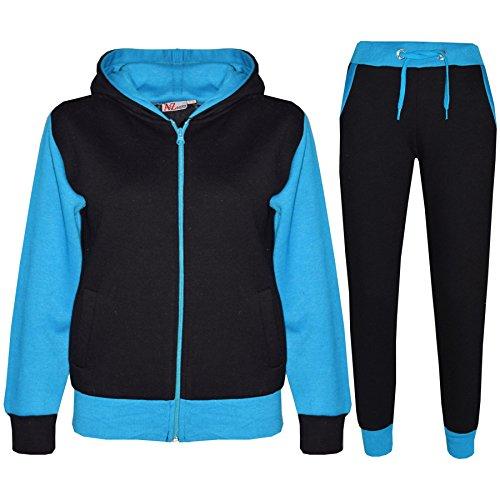 A2Z 4 Kids® Kinder Trainingsanzug Mädchen Jungen Designer Plain Kontrast - T.S Plain 101 Turquoise 5-6