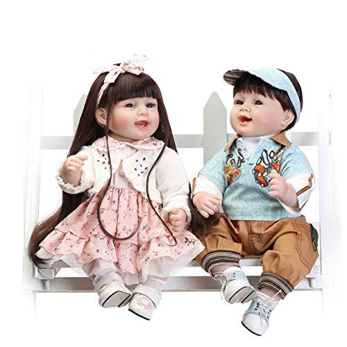NACHEN Baby Dolls Soft Silikon Vinyl 55cm Lifelike Toy Boy Girl Gift Realistic Dolls,Twin,55cm