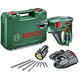 Bosch Uneo Perforateur sans Fil 10,8 V, Coffret 1 Batterie 2,0 Ah, 4 Forets, Technologie Syneon