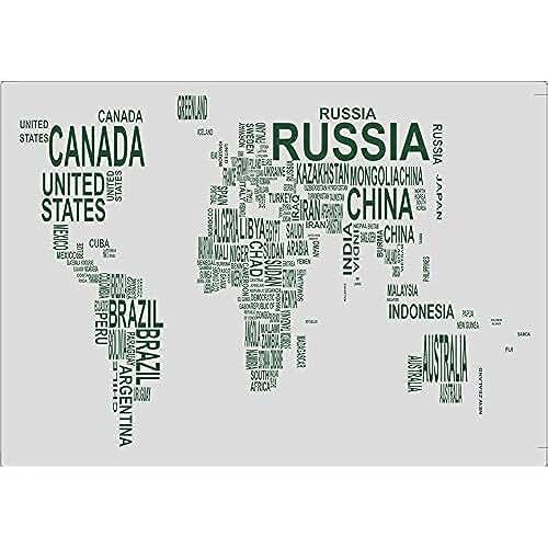 dia del orgullo friki 100 Goods Palabras de silicona de Mapa del Mundo Todo tipo de clima Placemat , 11.4 x 16.1 x 0.03, Conjunto de 2 blanco transparente