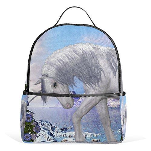 COOSUN Einhorn und Blue Bell Blumen Leichte Canvas Kids School Rucksack-Buch-Tasche für Junge Mädchen Klein Mehrfarbig