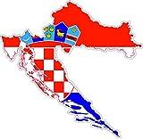 Akacha Aufkleber, selbstklebend, aus Vinyl, Motiv 'Kroatische Flagge auf Umriss Kroatiens'