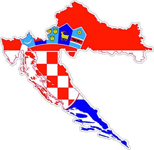 """Preisvergleich Produktbild Akacha Aufkleber, selbstklebend, aus Vinyl, Motiv """"Kroatische Flagge auf Umriss Kroatiens"""""""