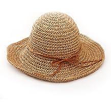 Andux STCM-01 Ala ancha paja sombreros para el sol del verano mujeres Retro  viajes bfb6bfb4ad7