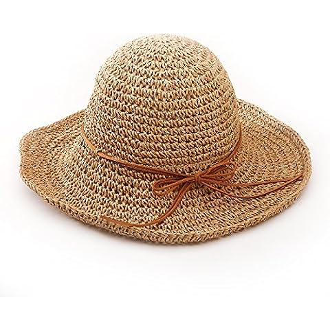 Andux STCM-01 Ala ancha paja sombreros para el sol del verano mujeres Retro viajes sombrero gorra visera de sol Playa de natación (Caqui )