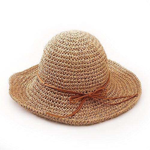 Andux STCM-01 Ala ancha paja sombreros para el sol del verano mujeres Retro  viajes 355804fcde3