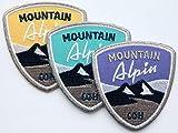 3er-Set Mountain Alpin Abzeichen gestickt 55 x 60 mm / Applikation Aufnäher Aufbügler Flicken Bügelbild Patch zum Aufbügeln Aufnähen / Alpen Allgäu Wandern Wintersport Winter Ski Snowboard Mode Nähen