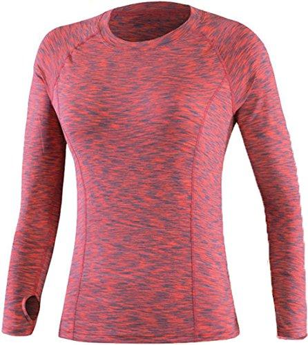 Jeansian Femme Casual T-shirts et Tops de Sport aptitude T-Shirt Women Fashion Fitness Sport Elastic Quick-Drying T-Shirt Tops SMF005 Orange