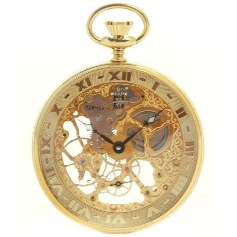 Bernex-Swiss-Made-Skeleton-Gold-Plate-Open-Face-Pocket-Watch
