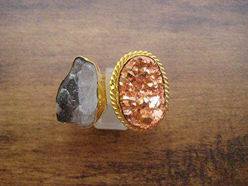 be Rutil Ring / Rutil Quarz Ring / Druzy Ringe / Kupfer Druzy Ring / Aussage Ring / verstellbarer Ring / Edelstein Ringe / Gold Ring (Druzy-ring)