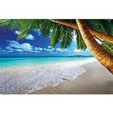 GREAT ART Póster Playa de Palmas Mural Decoración Caribe Playa de ensueño Bahía Paraíso Naturaleza Isla Palmas Trópicos Cielo Azul | Foto póster Mural Imagen Deco Pared by (140 x 100 cm)