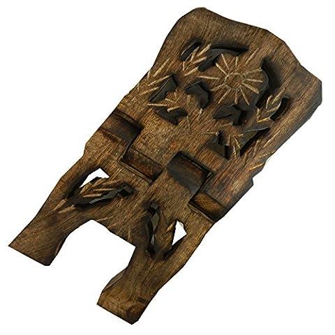 Porte-livre 30cm pliable en bois de manguier feuille de vigne Artisanat indien