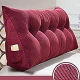Dreieck Bett Rücken Kissen/Keilkissen / Sofa Soft Bag/Zwei-Personen-Bett großes Kissen/Bett Kissen - 5 Farben, 9 Größen Bedside große Rückenlehne (Farbe : Weinrot, größe : 90cm)