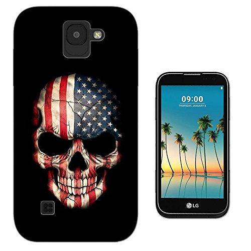 003428 - USA flag on skull Design LG K8 (2017) Fashion Trend Silikon Hülle Schutzhülle Schutzcase Gel Rubber Silicone Hülle