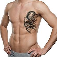 TAFLY Men Lower Back, Shoulder, Arm Temporary Tattoos - Lagre Dragons Body Art Transfer Tattoos Sticker Black 2 Sheets