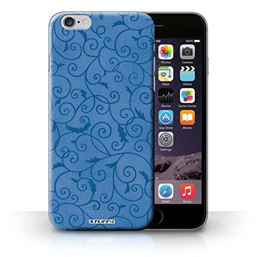 KOBALT® Hülle Case für iPhone 6+/Plus 5.5 | Rosa Entwurf | Vine Blumenmuster Kollektion Blau