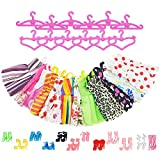 Picture Of ASIV 12 Dresses, 12 Paris of Shoes, 12 Hangers Accessories for Barbie Dolls for Girls (36 Pieces)