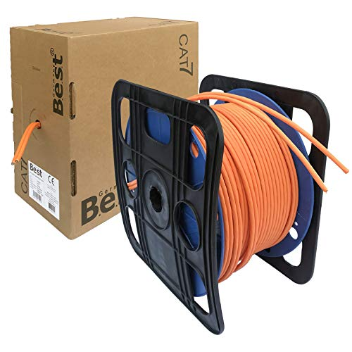 netshop 25 Duplex CAT.7 Netzwerkkabel Verlegekabel Gigabit S/FTP 10Gbit 1000Mhz CAT7 Installationskabel PIMF Kabel Netzwerk Verkabelung LAN Twin Datenkabel 4x2xAWG23 orange 10/100/1'000/10'000 Mbit (Meter Cat 100 6-ethernet-kabel)