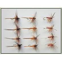 12en seco trucha moscas, rojo, naranja y Jerez spinnerchoice de tallas disponibles