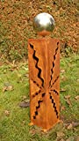 Rost Säule 60cm Garten Rost Skulptur mit Edelstahlkugel*