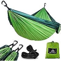 [Patrocinado]NatureFun Hamaca ultraligera para camping| 300kg de capacidad de carga, (300 x 200 cm) Estilo paracaídas de Nylon, transpirable y de secado rápido. 2 mosquetones premium, 2 eslingas de nylon incluidas