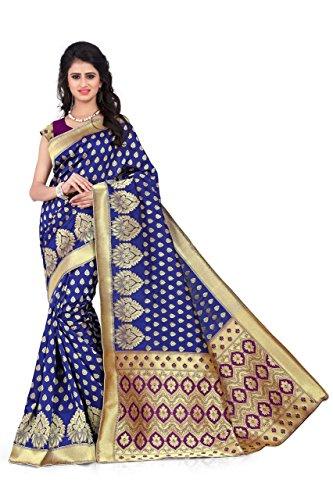 Sarees (Women's Blue & Purple Banarasi Silk Saree with Blouse Piece Banarasi...