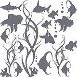 GRAZDesign 770061_57_071 Wandtattoo Badezimmer Fische Algen Blasen Wasser | maritimes Set Bad-Tattoo für Fliesen - Wände - Tür (57x57cm//071 grau)