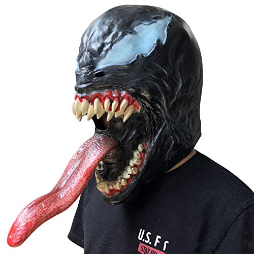 (QQWE Venom Spider-Man Cosplay Maske The Avengers Spider Man Maske Lange Zungenmaske Halloween Weihnachtsparty Film Kostüm Requisiten Latex Kopfbedeckungen,Black-OneSize)