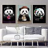 SHINERING Mignon Dessins Animés Affiches Et Gravures Panda Animaux Toile Peinture Crèche Bébé Chambre Mur Art Photo pour Le Salon Enfants Décoration No Frame