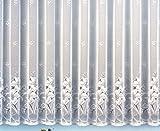 Gardine Vorhang Jacquard Store mit Bleiband für schönen Fall weiß schönes Blumenmuster allover mit Kräuselband / Universalschienenband HxB 160x750 cm für Fensterbreite 240-295 cm TOP QUALITÄT ...auspacken, aufhängen, fertig! Typ43
