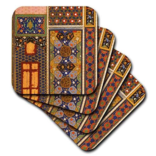 3dRose CST 162526_ 3arabischen Stil Multicolor Abstraktes Muster Colorful Türkisch Marokkanische Islamische Islam Muslim Art-Ceramic Tile Untersetzer, 4Stück