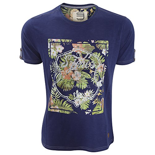 Smith & Jones Herren Lockerly T-Shirt mit floralem Aufdruck Twilight-Blau