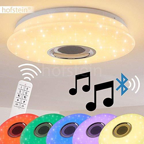 LED Deckenleuchte Hemlo, dimmbare Deckenlampe aus Metall in Chrom, 18 Watt, 100-1600 Lumen, 3000-6000 Kelvin, mit Farbwechsler, Fernbedienung, Bluetooth Lautsprecher, über Smartphone-App steuerbar