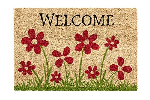 Coco Style Kokos-Fußmatte, Türmatte, Eingangsmatte, Vorleger Des. 9126-14 Welcome Blume ca. 40 x 60 cm, rutschfest, 100% Kokos bedruckt