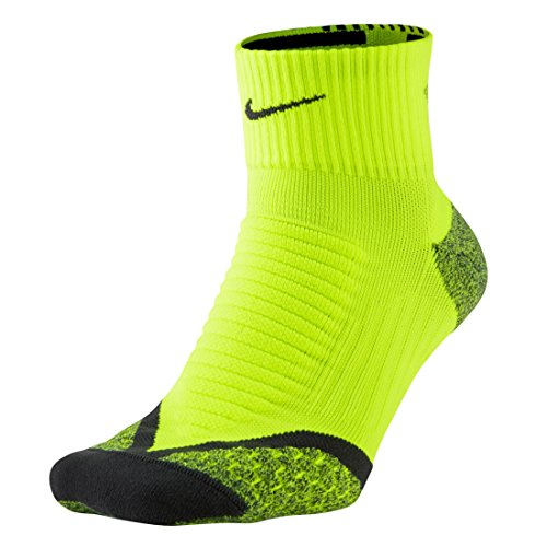 Nike Tennissocken Elite Running Cushion Quarter Calcetines, Unisex adulto, Lima / Gris (Volt / Anthracite / Anthracite), 44-45.5