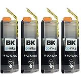 4 Black Compatible Brother LC123Bk Printer Ink Cartridges for Brother DCP-J132W, DCP-J152W, DCP-J4110DW, DCP-J552DW, DCP-J752DW, MFC-J4410DW, MFC-J4510DW, MFC-J4610DW, MFC-J470DW, MFC-J4710DW, MFC-J650DW, MFC-J6520DW, MFC-J6720DW, MFC-J6920DW, MFC-J870DW