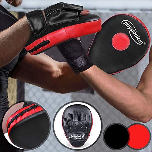 Physionics Pratzen Handpratzen Schlagpolster Boxpratzen Kick Pads Boxen Kampfsport Thaiboxen Karate MMA Muay Thai Taekwondo Farbe Schwarz/Rot