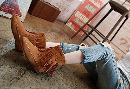 Wealsex Bottes Plates Suédé Automne Hiver Tassel Boots Femme brun clair fourré intérieur